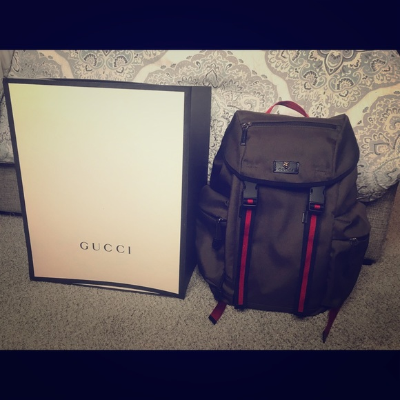 bd4ac083776 Gucci Other - Gucci Techno Canvas Backpack (Military Green)